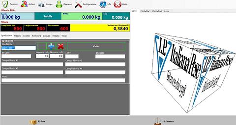 Software bilancia calcolo peso volume statico dei colli con lettura barcode